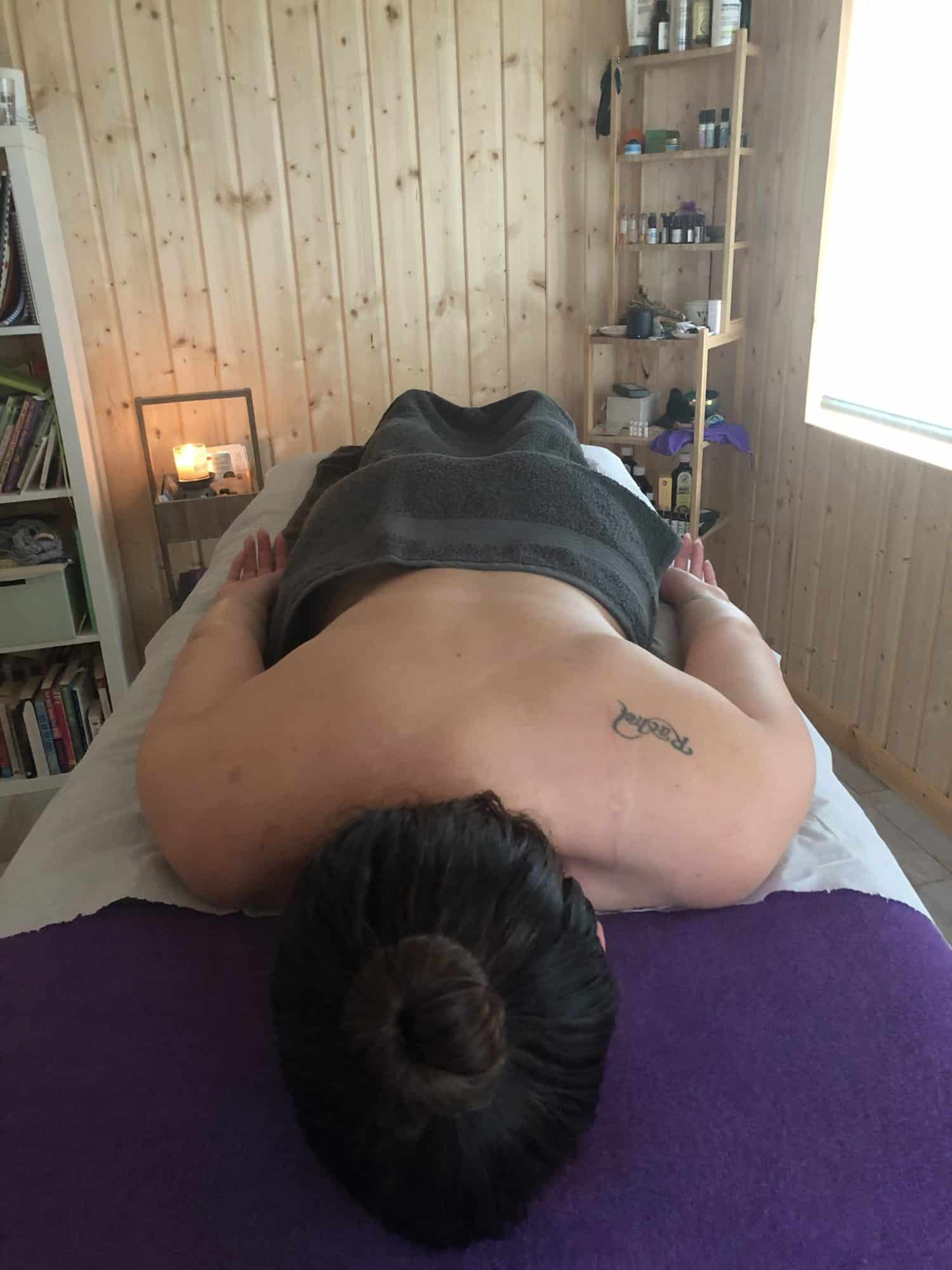 Client on massage table